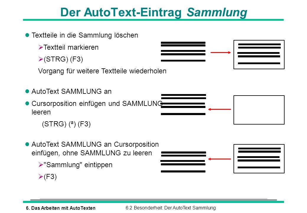 Der AutoText-Eintrag Sammlung