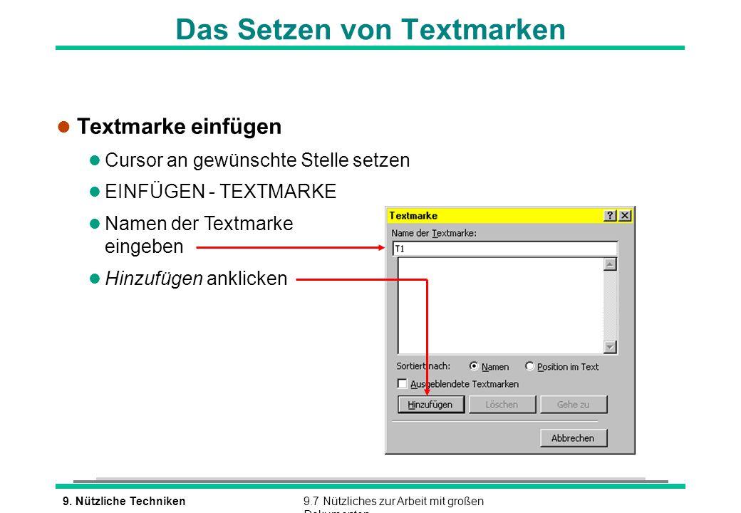 Das Setzen von Textmarken