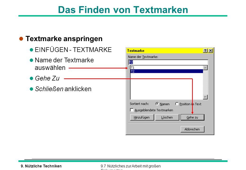 Das Finden von Textmarken