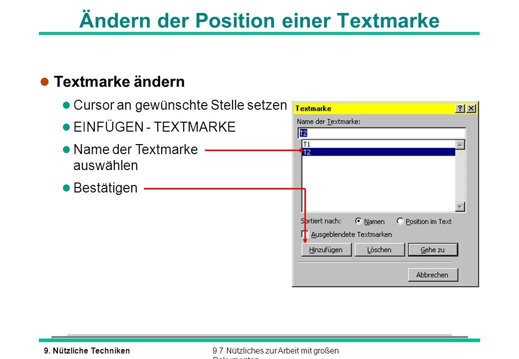 Ändern der Position einer Textmarke