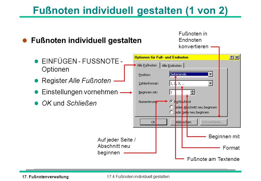 Fußnoten individuell gestalten (1 von 2)