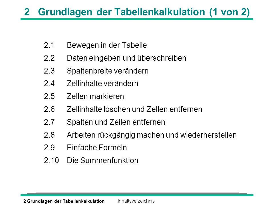2 Grundlagen der Tabellenkalkulation (1 von 2)