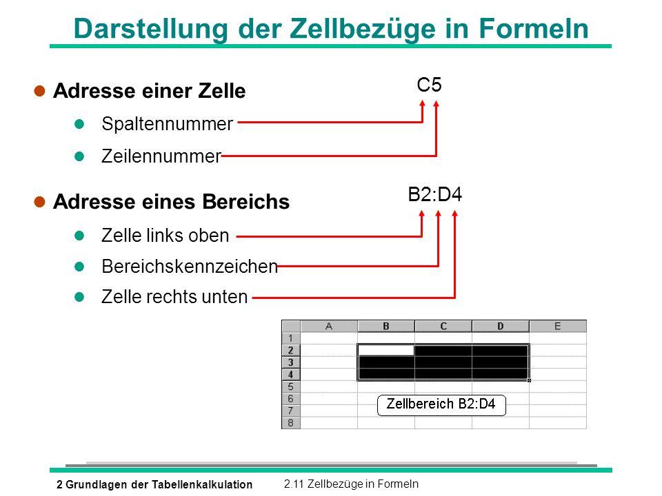 Darstellung der Zellbezüge in Formeln