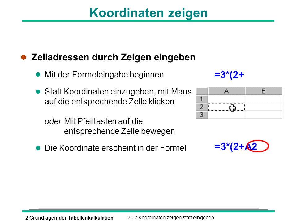 Koordinaten zeigen =3*(2+ =3*(2+A2 Zelladressen durch Zeigen eingeben
