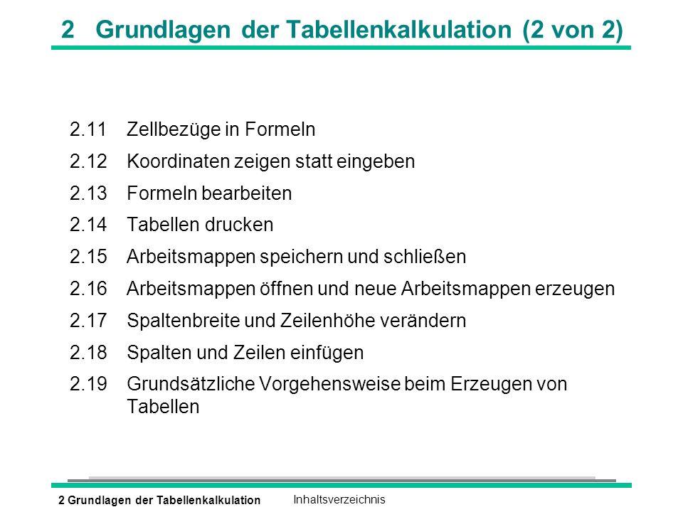 2 Grundlagen der Tabellenkalkulation (2 von 2)