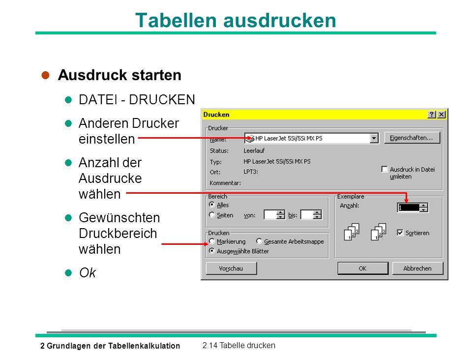 Tabellen ausdrucken Ausdruck starten DATEI - DRUCKEN