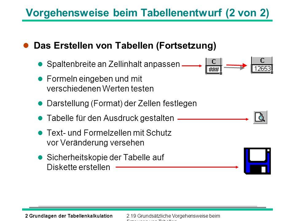 Vorgehensweise beim Tabellenentwurf (2 von 2)
