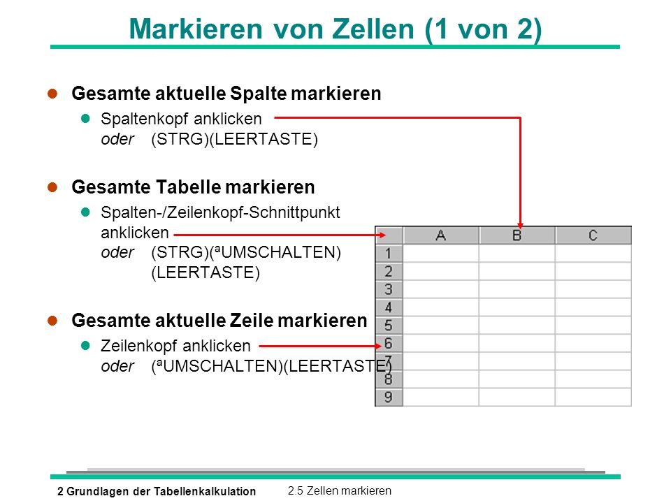 Markieren von Zellen (1 von 2)