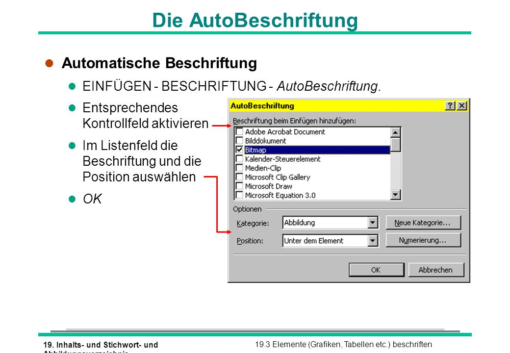 Die AutoBeschriftung Automatische Beschriftung