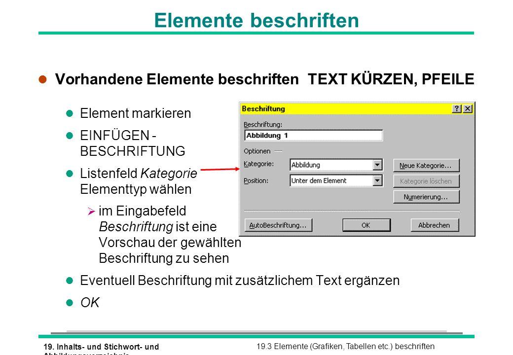 Elemente beschriften Vorhandene Elemente beschriften TEXT KÜRZEN, PFEILE. Element markieren. EINFÜGEN - BESCHRIFTUNG.