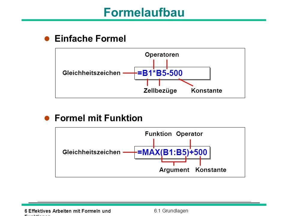Formelaufbau Einfache Formel Formel mit Funktion =B1*B5-500