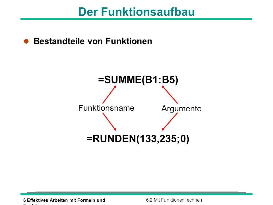 Der Funktionsaufbau =SUMME(B1:B5) =RUNDEN(133,235;0)