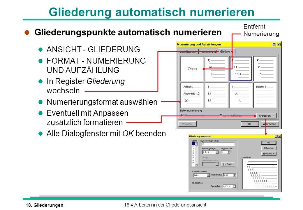 Gliederung automatisch numerieren