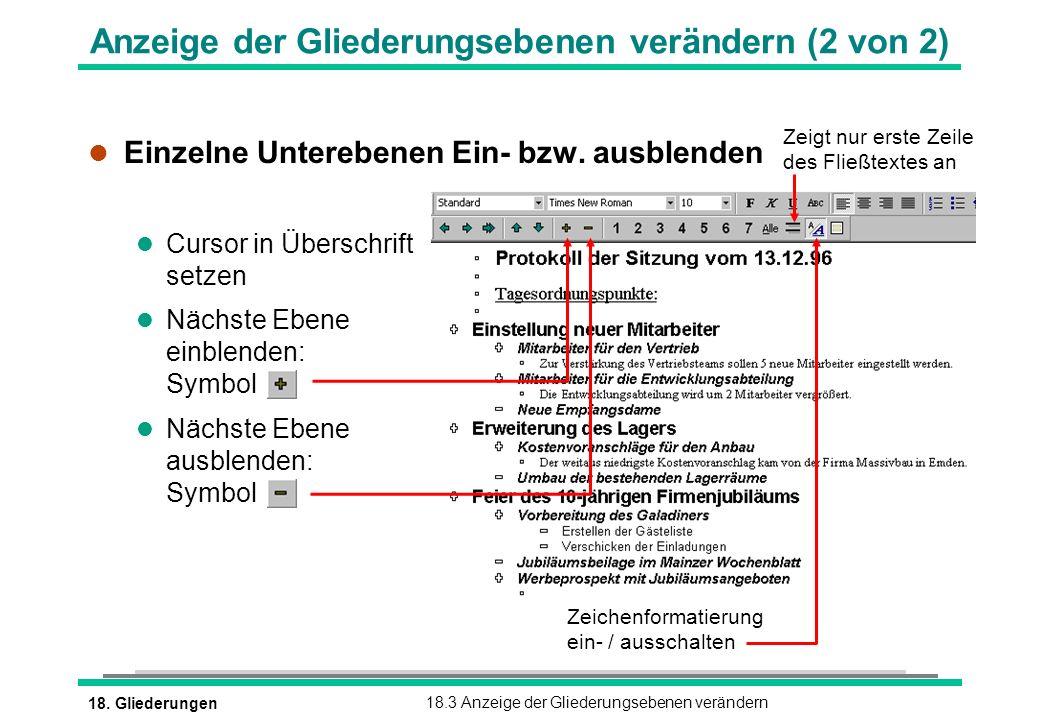 Anzeige der Gliederungsebenen verändern (2 von 2)
