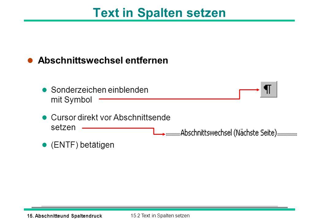 Text in Spalten setzen Abschnittswechsel entfernen