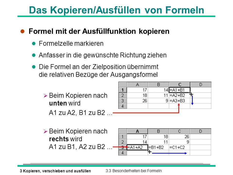 Das Kopieren/Ausfüllen von Formeln