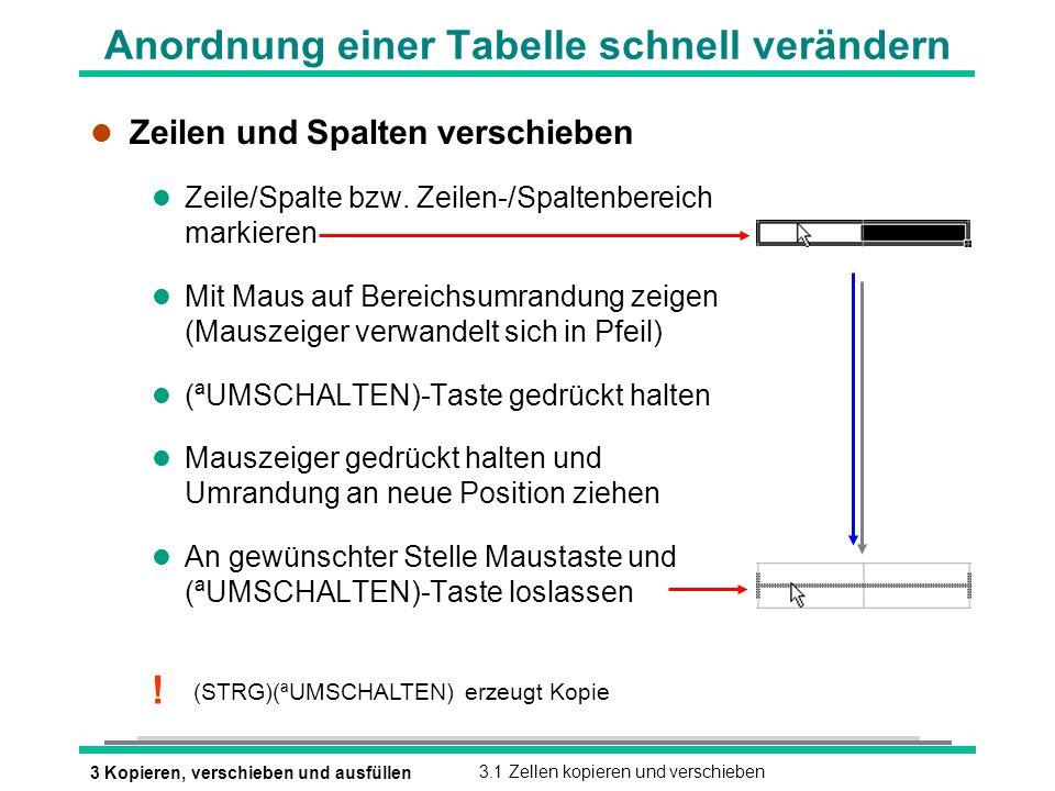 Anordnung einer Tabelle schnell verändern