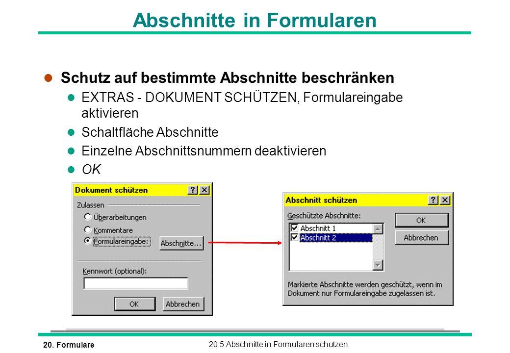 Abschnitte in Formularen
