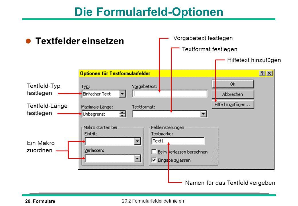 Die Formularfeld-Optionen