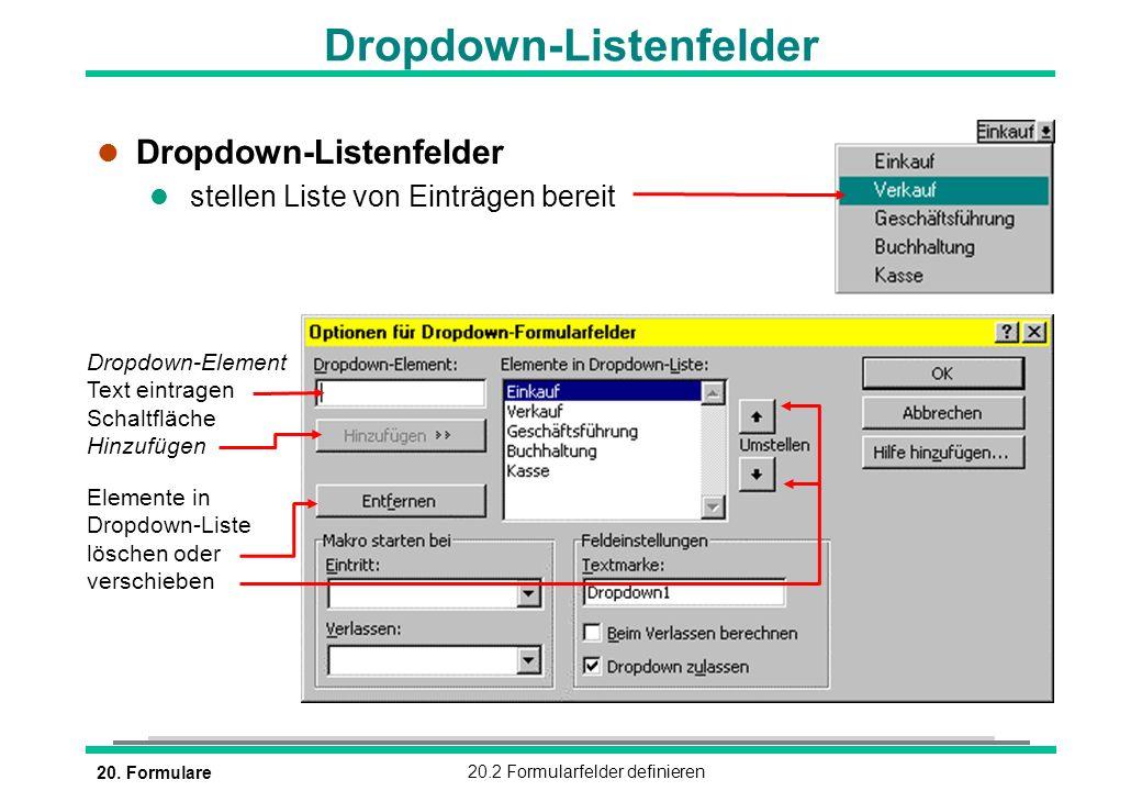 Dropdown-Listenfelder