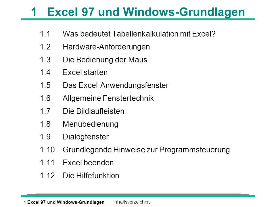 1 Excel 97 und Windows-Grundlagen