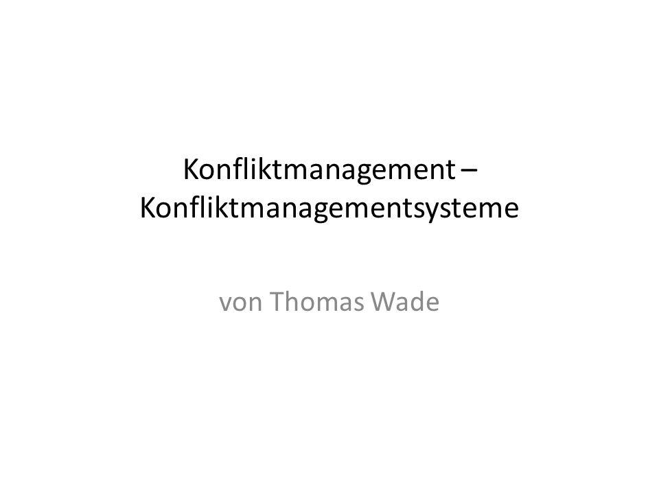 Konfliktmanagement – Konfliktmanagementsysteme