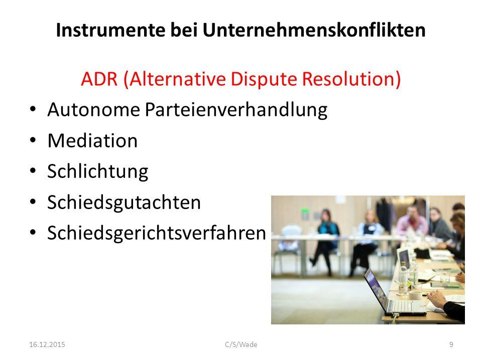 Instrumente bei Unternehmenskonflikten
