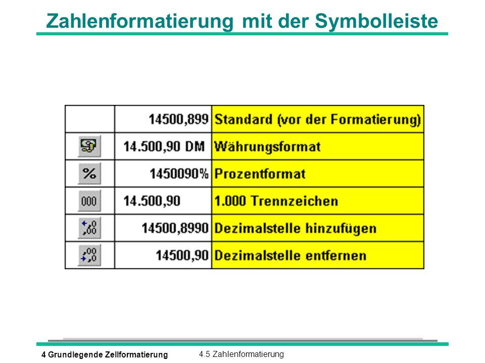 Zahlenformatierung mit der Symbolleiste