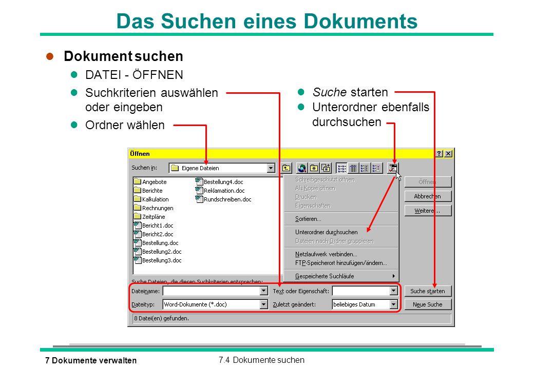 Das Suchen eines Dokuments