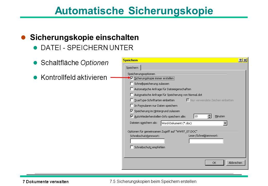 Automatische Sicherungskopie