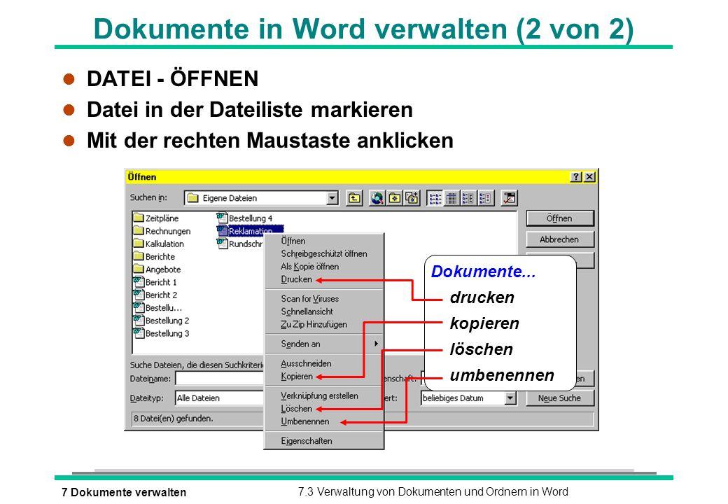 Dokumente in Word verwalten (2 von 2)