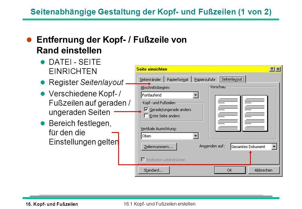 Seitenabhängige Gestaltung der Kopf- und Fußzeilen (1 von 2)