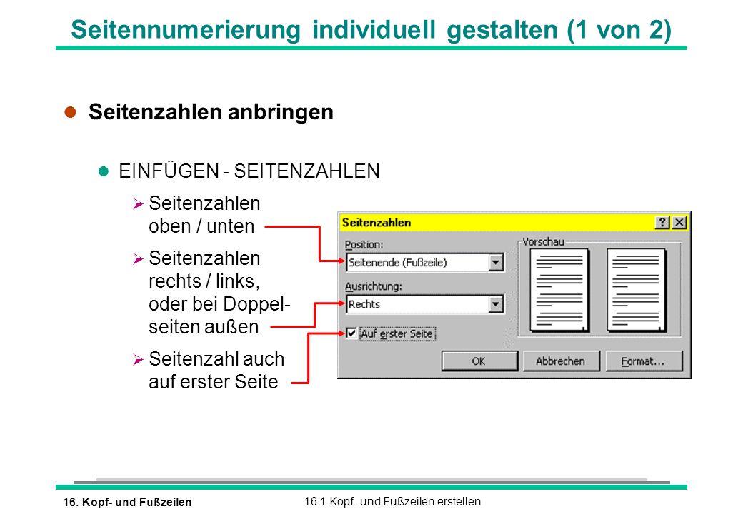 Seitennumerierung individuell gestalten (1 von 2)