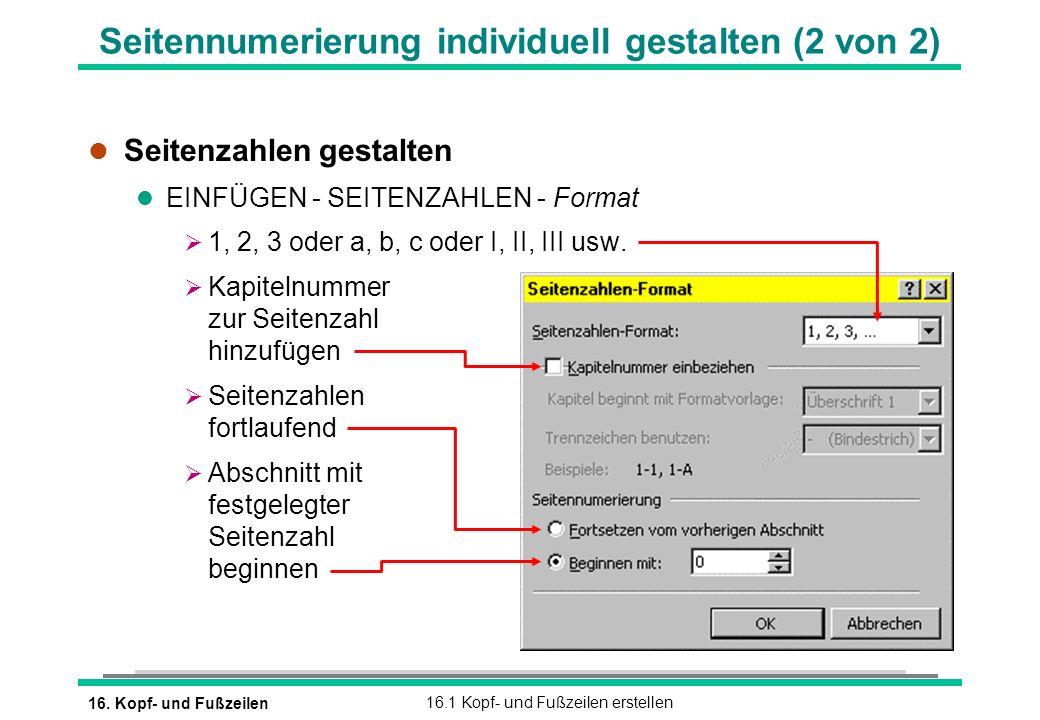 Seitennumerierung individuell gestalten (2 von 2)
