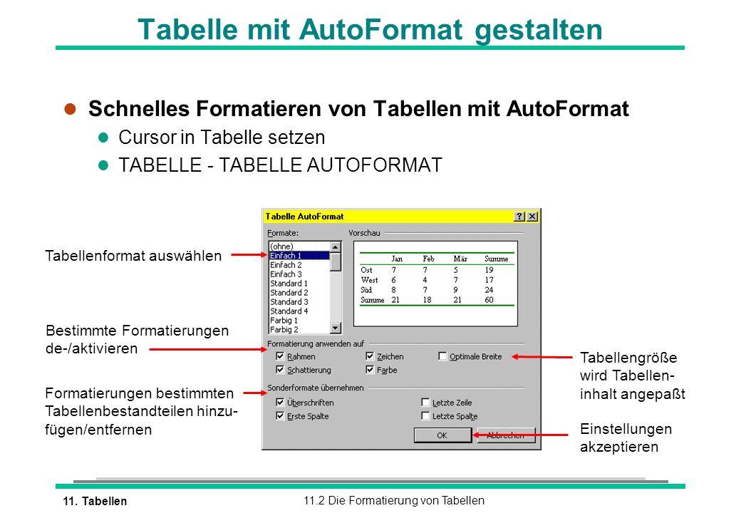 Tabelle mit AutoFormat gestalten