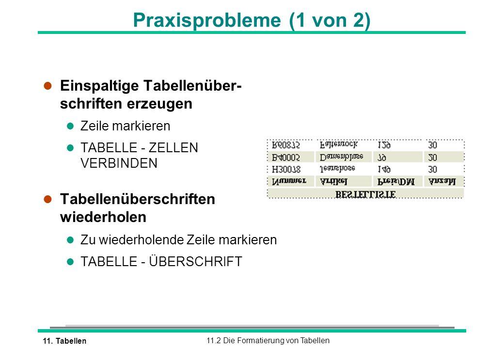 Praxisprobleme (1 von 2) Einspaltige Tabellenüber- schriften erzeugen