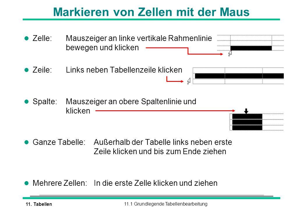 Markieren von Zellen mit der Maus