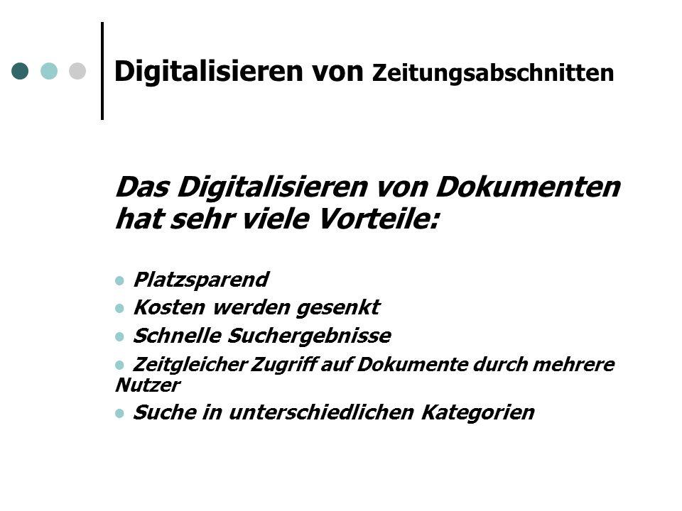 Digitalisieren von Zeitungsabschnitten