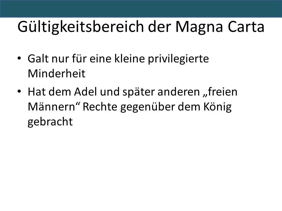 Gültigkeitsbereich der Magna Carta
