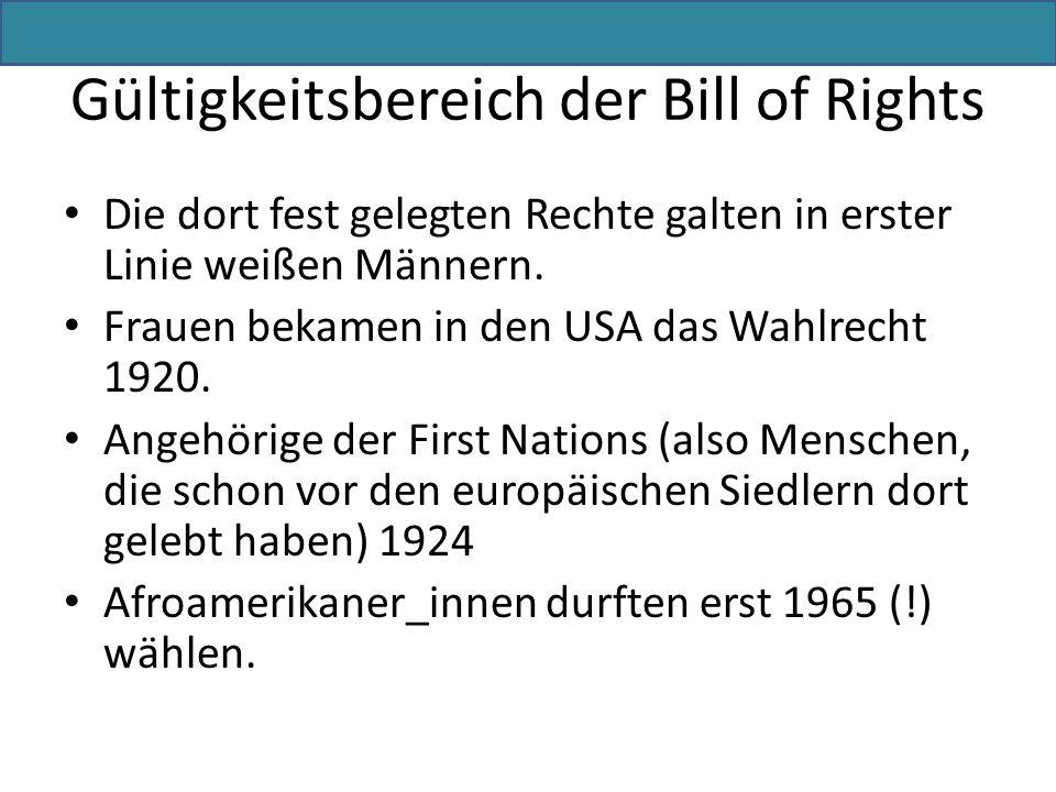 Gültigkeitsbereich der Bill of Rights