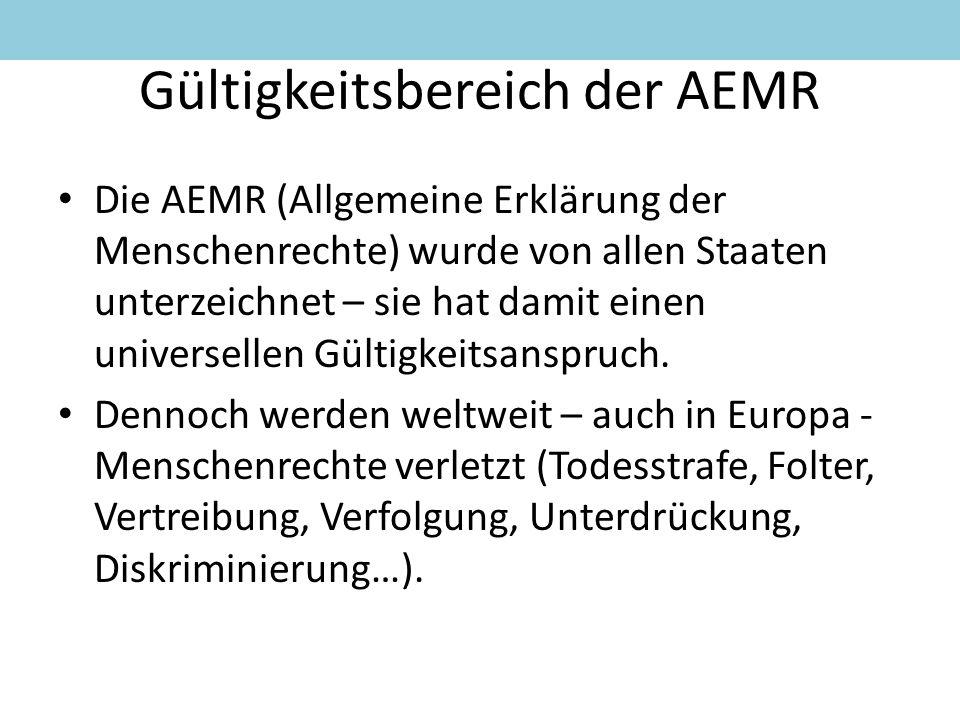 Gültigkeitsbereich der AEMR