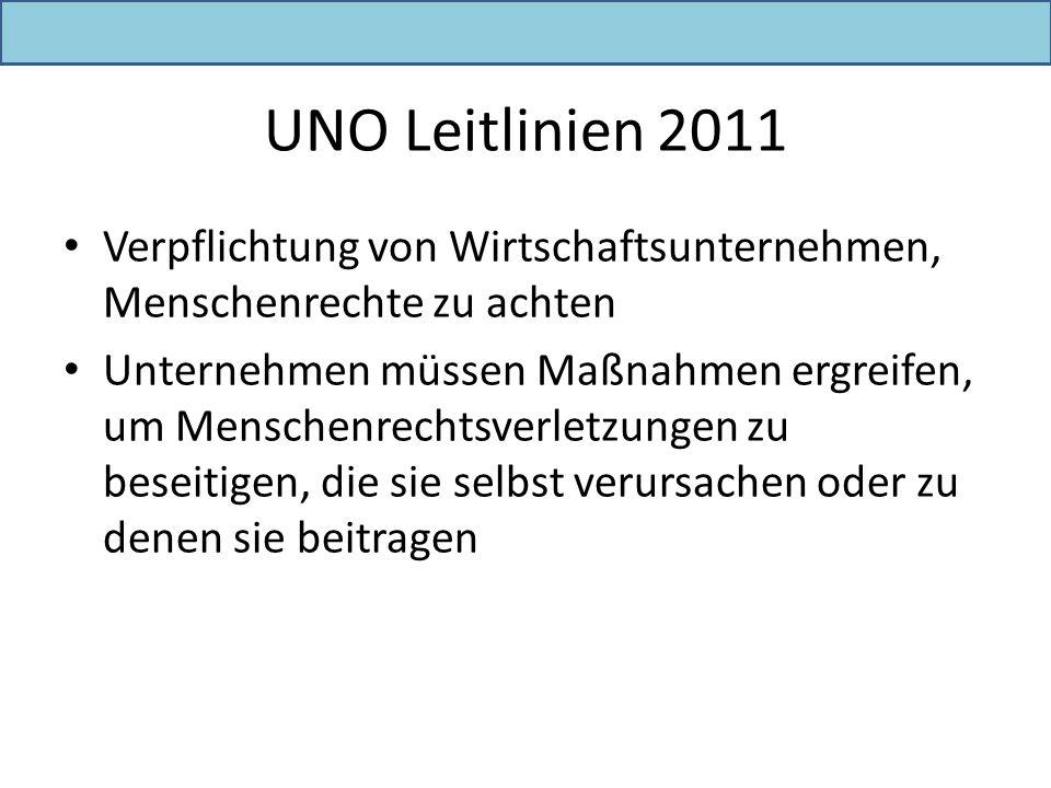 UNO Leitlinien 2011 Verpflichtung von Wirtschaftsunternehmen, Menschenrechte zu achten.