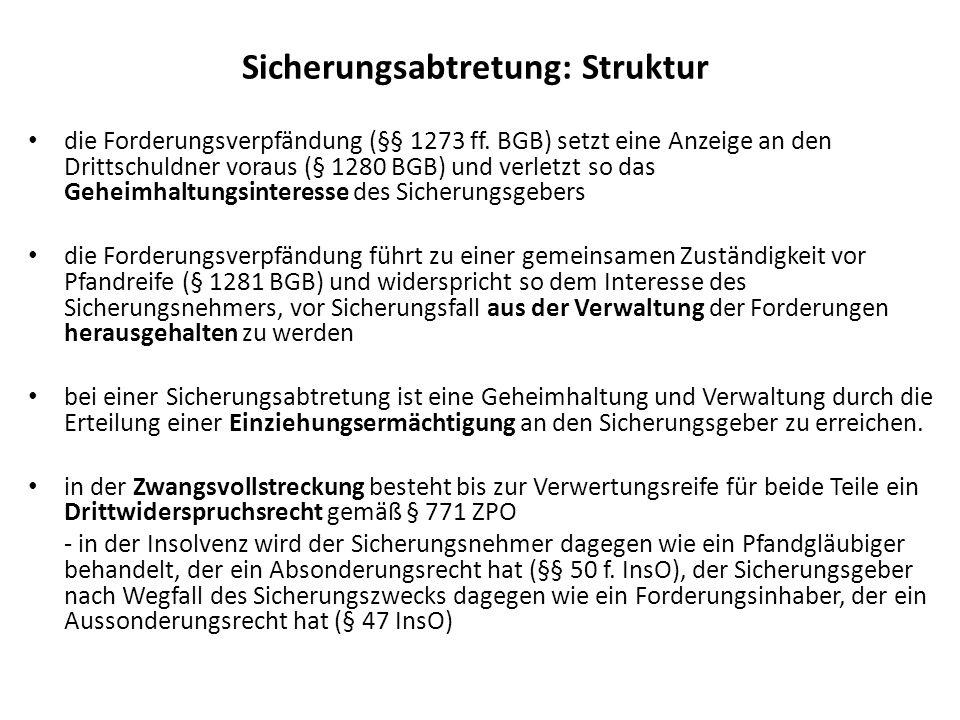 Sicherungsabtretung: Struktur