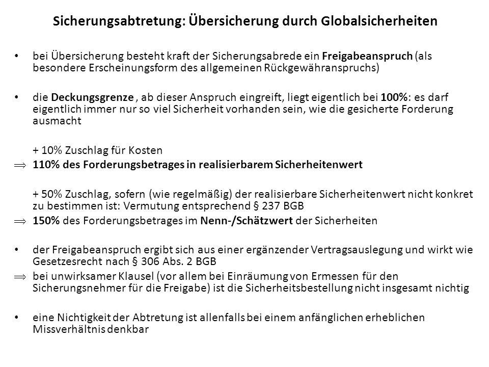 Sicherungsabtretung: Übersicherung durch Globalsicherheiten