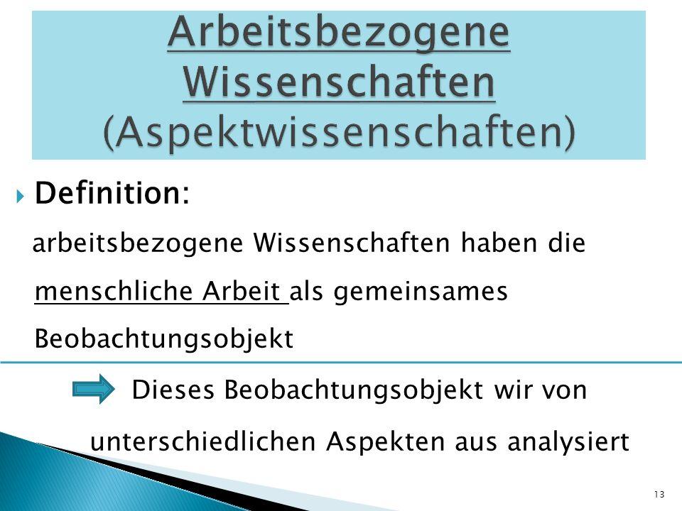 Arbeitsbezogene Wissenschaften (Aspektwissenschaften)