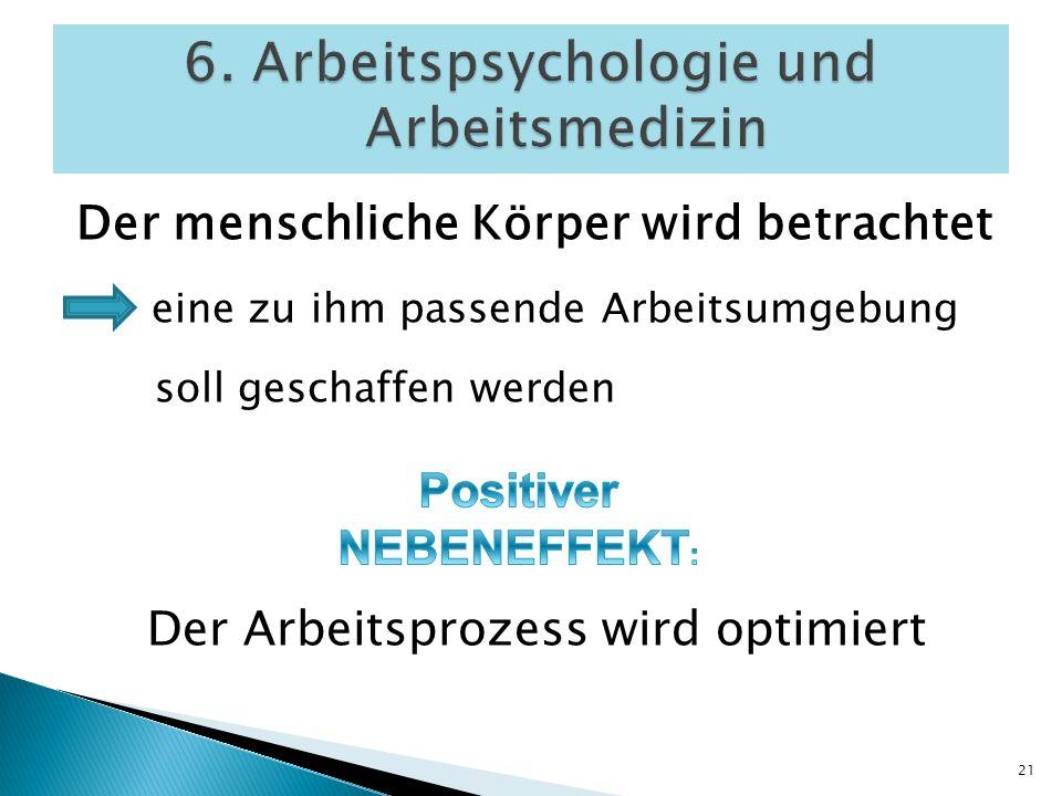 6. Arbeitspsychologie und Arbeitsmedizin