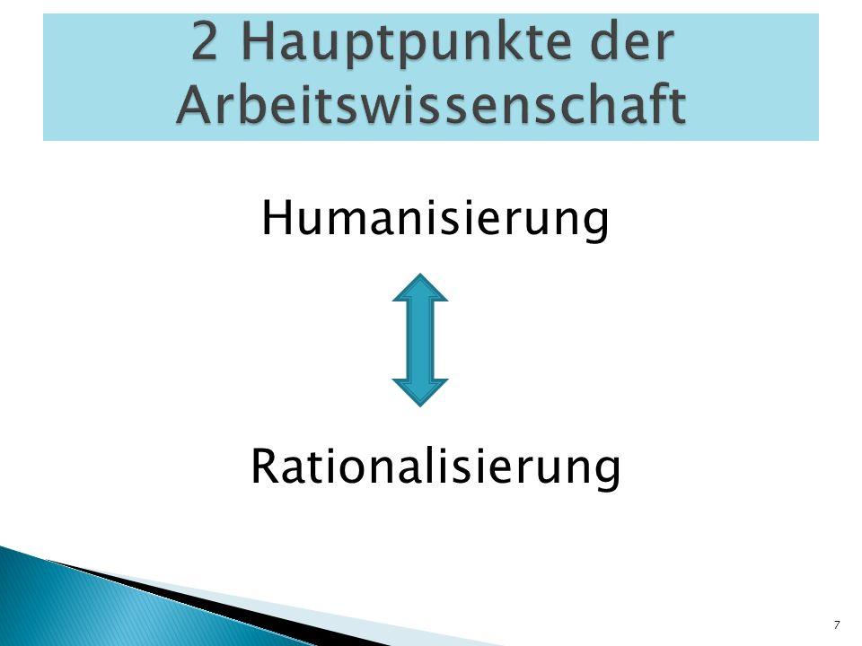 2 Hauptpunkte der Arbeitswissenschaft