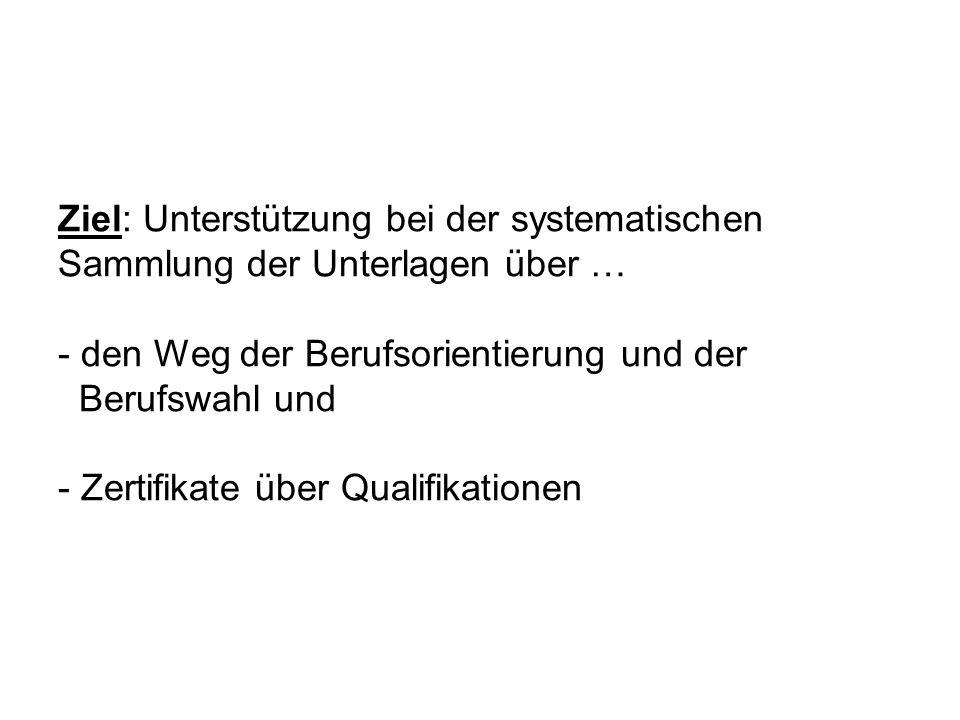 Ziel: Unterstützung bei der systematischen Sammlung der Unterlagen über … - den Weg der Berufsorientierung und der Berufswahl und - Zertifikate über Qualifikationen