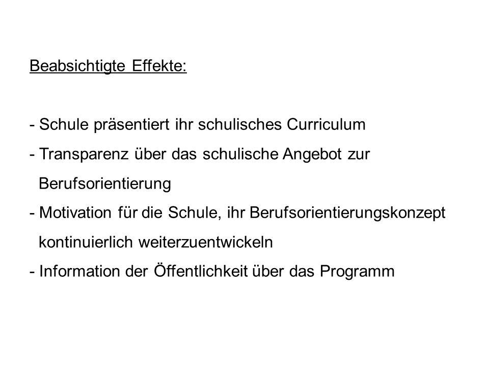 Beabsichtigte Effekte: - Schule präsentiert ihr schulisches Curriculum - Transparenz über das schulische Angebot zur Berufsorientierung - Motivation für die Schule, ihr Berufsorientierungskonzept kontinuierlich weiterzuentwickeln - Information der Öffentlichkeit über das Programm