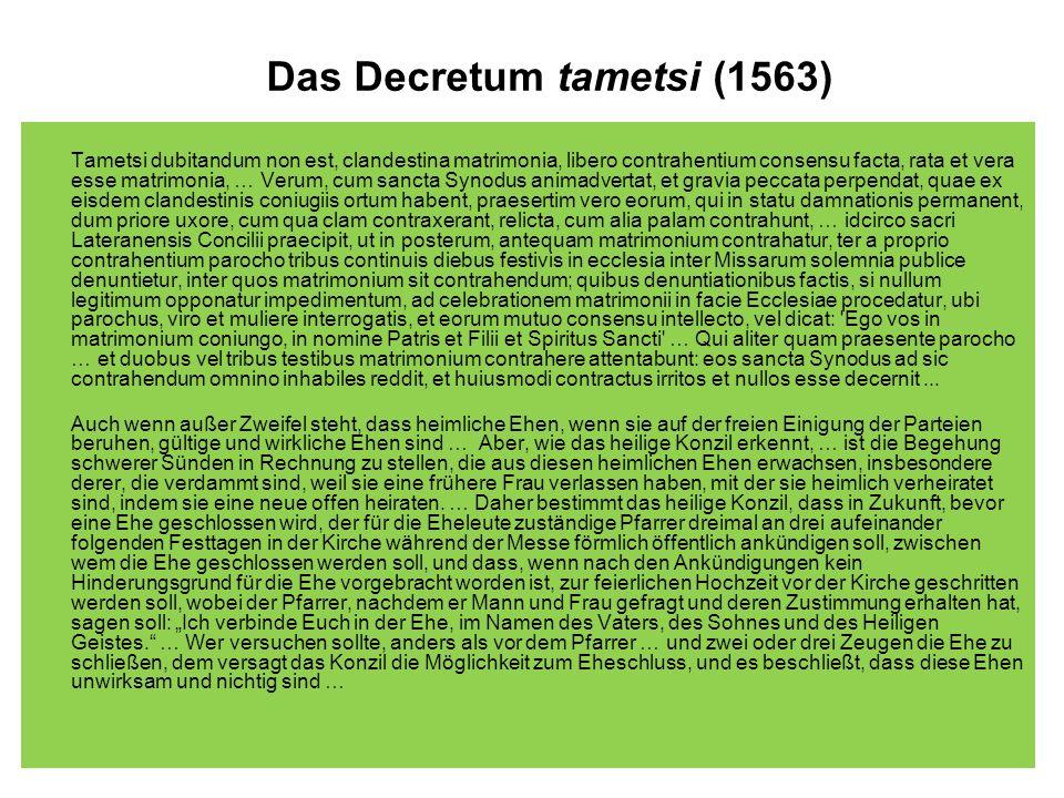 Das Decretum tametsi (1563)